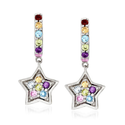 .50 ct. t.w. Multi-Gemstone Star Drop Earrings in Sterling Silver