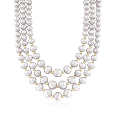4-9mm Gray Cultured Pearl Three-Strand Necklace with 14kt Yellow Gold, , default