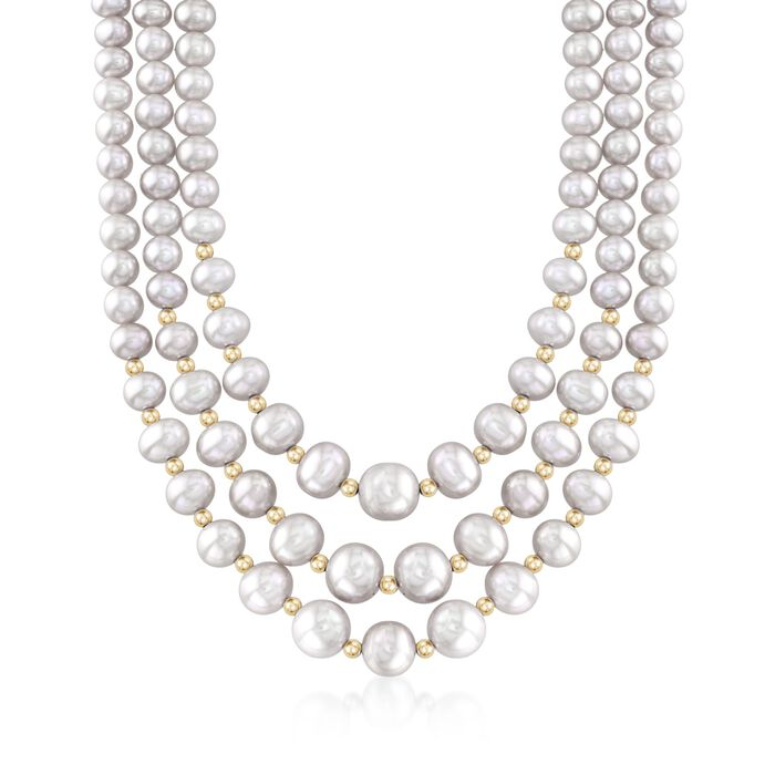 "4-9mm Gray Cultured Pearl Three-Strand Necklace with 14kt Yellow Gold. 20"", , default"