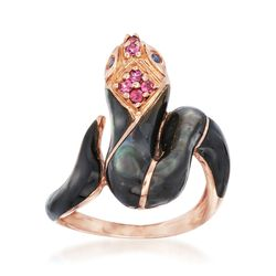 Black Mother-Of-Pearl Snake Ring With .10 ct. t.w. Purple Rhodolite and Sapphire Accents in 14kt Rose Gold, , default
