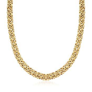18kt Gold Over Sterling Silver Byzantine Necklace, , default