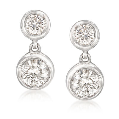 1.00 ct. t.w. Diamond Double Bezel Drop Earrings in 14kt White Gold, , default