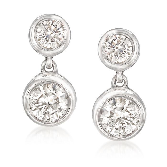 1.00 ct. t.w. Diamond Double Bezel Drop Earrings in 14kt White Gold, , default