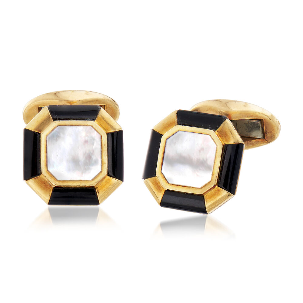 f007ad993 C. 1960 Vintage Tiffany Jewelry Men's Mother-Of-Pearl and Black Onyx Cuff