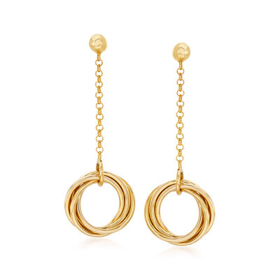 Italian 14kt Yellow Gold Interlocking-Circle Drop Earrings
