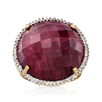 25.00 Carat Red Corundum and .30 ct. t.w. White Topaz Ring in 14kt Gold Over Sterling, , default