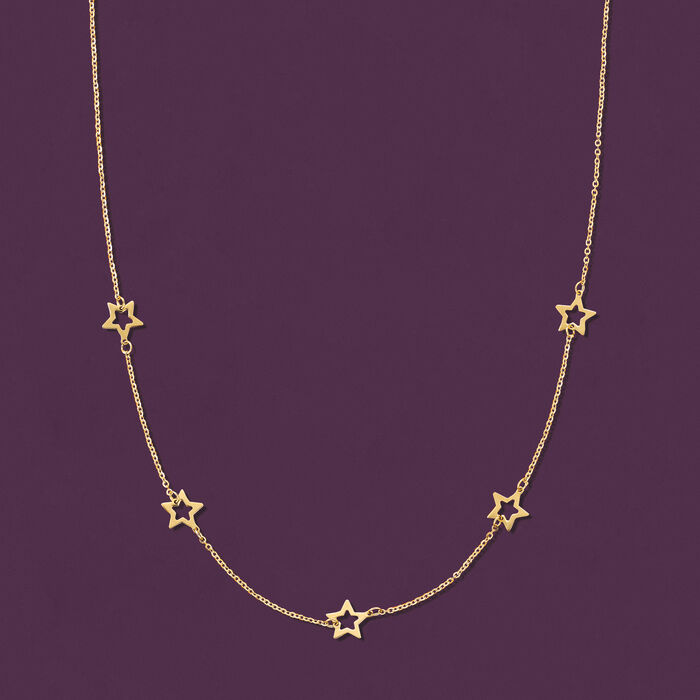 Italian 14kt Yellow Gold Open-Space Star Station Necklace