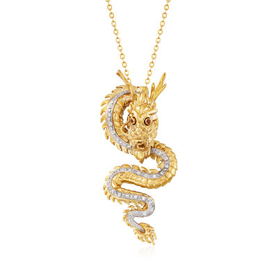 .20 ct. t.w. White Topaz Dragon Pendant Necklace with Garnet Accents in 18kt Gold Over Sterling