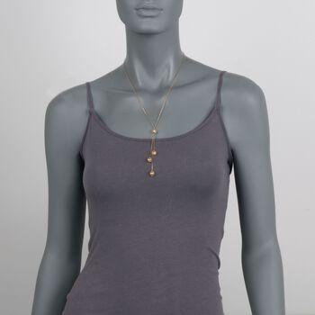 14kt Yellow Gold Filigree Bead Tassel Necklace, , default