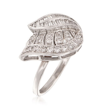 C. 1990 Vintage .75 ct. t.w. Diamond Leaf Ring in 18kt White Gold. Size 7.5