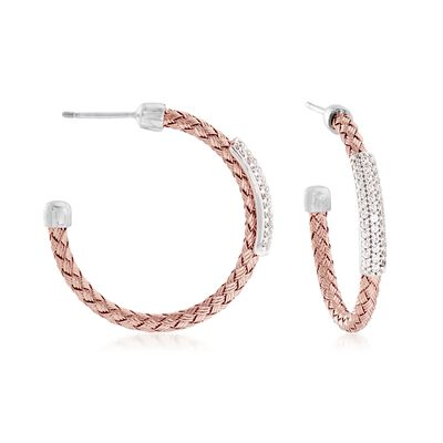 .60 ct. t.w. Pave CZ Basketweave Hoop Earrings in Sterling Silver and 18kt Rose Gold Over Sterling Silver, , default
