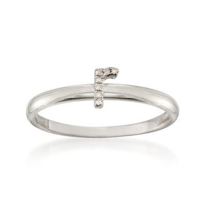 """Diamond Accent Mini Initial """"R"""" Ring in Sterling Silver, , default"""