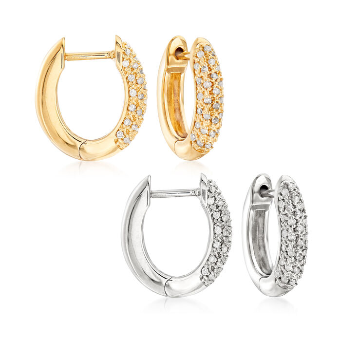 ".25 ct. t.w. Pave Diamond Jewelry Set: Two Pairs of Hoop Earrings in Sterling Silver and 18kt Gold Over Sterling. 1/2"", , default"