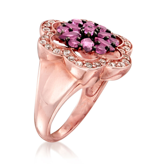 1.10 ct. t.w. Pink Tourmaline and .70 ct. t.w. White Zircon Ring in 18kt Rose Gold Over Sterling Silver
