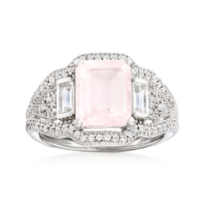 3.20 Carat Rose Quartz and .84 ct. t.w. White Topaz Ring in Sterling Silver