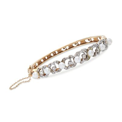 C. 1950 Vintage 4.5-5mm Cultured Pearl and .60 ct. t.w. Diamond Bangle Bracelet in 14kt Yellow Gold, , default