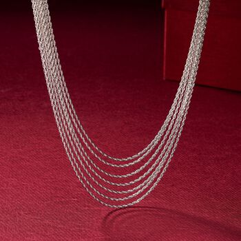 Sterling Silver Multi-Strand Rope Necklace, , default
