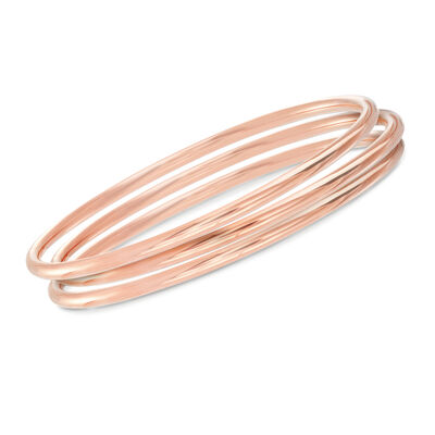 Italian 22kt Rose Gold Over Sterling Jewelry Set: Three Polished Bangle Bracelets