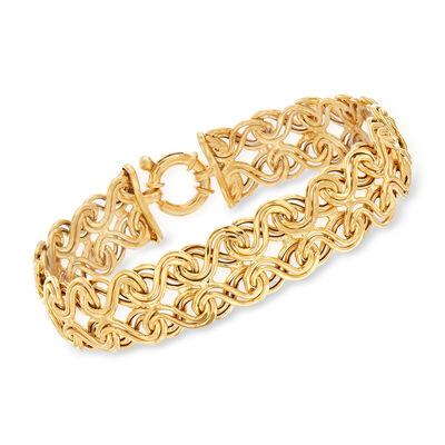 Italian 14kt Yellow Gold Interlocking Infinity-Link Bracelet, , default