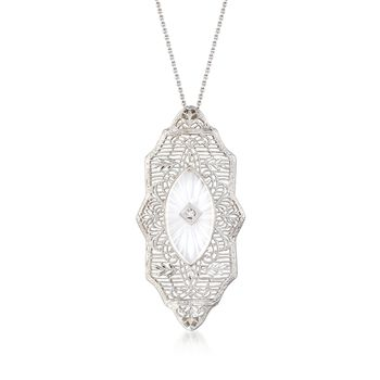 """C. 1950 Vintage Rock Crystal Filigree Necklace With Diamond Accents in 14kt White Gold. 16"""", , default"""