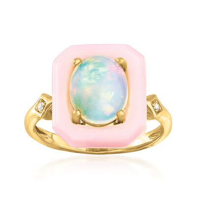 Multicolored Opal Ring with Diamond Accents in 14kt Yellow Gold