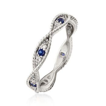 .12 ct. t.w. Diamond and .10 ct. t.w. Sapphire Milgrain Twist Eternity Band in 14kt White Gold, , default