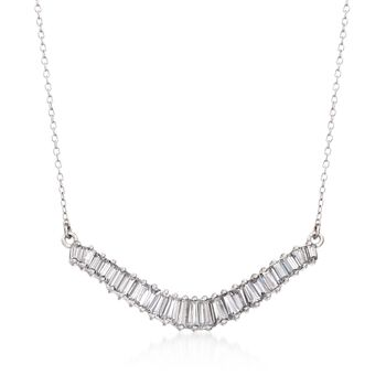 "1.58 ct. t.w. Baguette CZ Curved Bar Necklace in Sterling Silver. 18"", , default"