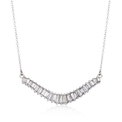 1.58 ct. t.w. Baguette CZ Curved Bar Necklace in Sterling Silver, , default