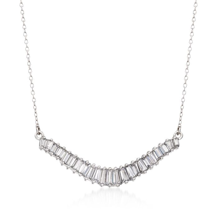 """1.58 ct. t.w. Baguette CZ Curved Bar Necklace in Sterling Silver. 18"""", , default"""