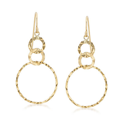 14kt Yellow Gold Triple Interlocking Circle Drop Earrings, , default
