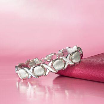 """Italian Sterling Silver Brushed and Polished XO Link Bracelet. 7"""", , default"""
