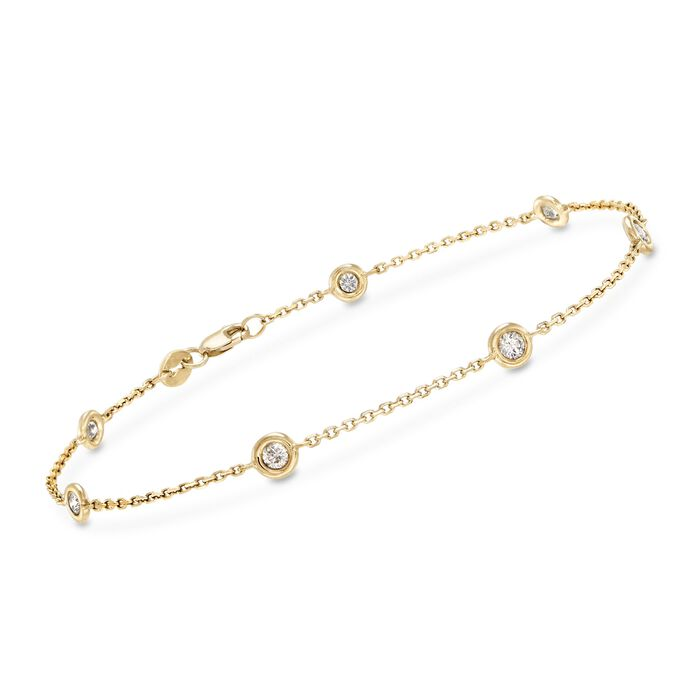 .50 ct. t.w. Diamond Station Bracelet in 14kt Yellow Gold, , default