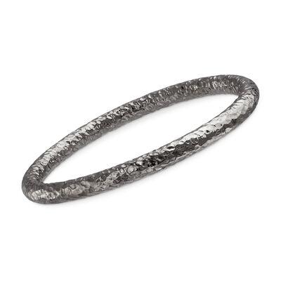 Italian Sterling Silver Hammered Bangle Bracelet in Black, , default