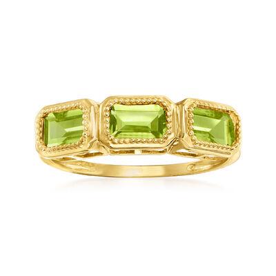 1.50 ct. t.w. Peridot Three-Stone Ring in 14kt Yellow Gold