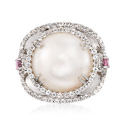 14mm Cultured Mabe Pearl and .90 ct. t.w. White Topaz Ring With Rhodolite Garnets in Sterling Silver, , default