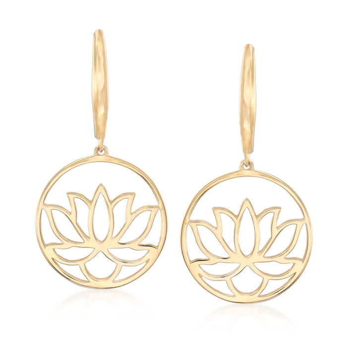 14kt Yellow Gold Lotus Blossom Drop Earrings