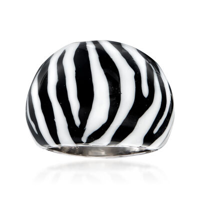 Italian Zebra Enamel Dome Ring in Sterling Silver