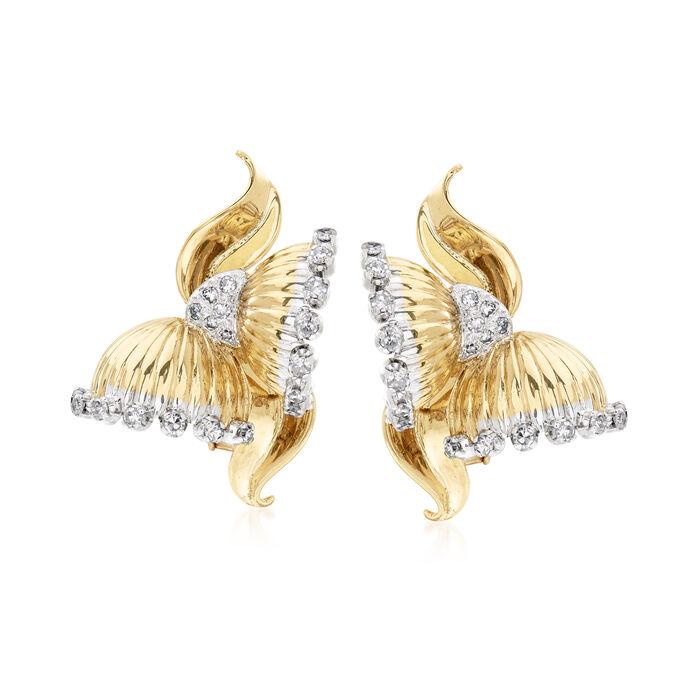 C. 1970 Vintage 1.33 ct. t.w. Diamond Flower Earrings in 18kt Yellow Gold, , default
