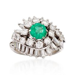 C. 1970 Vintage .75 Carat Emerald and 2.00 ct. t.w. Diamond Swirl Ring in Platinum. Size 6, , default