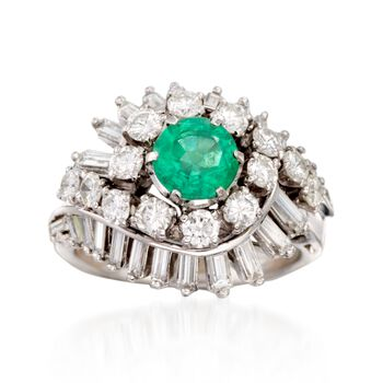 C. 1970 Vintage .75 Carat Emerald and 2.00 ct. t.w. Diamond Swirl Ring in Platinum. Size 6, , default