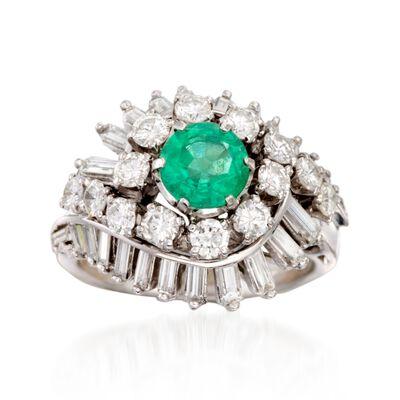 C. 1970 Vintage .75 Carat Emerald and 2.00 ct. t.w. Diamond Swirl Ring in Platinum, , default