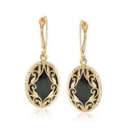 Black Onyx Drop Earrings in 14kt Yellow Gold , , default