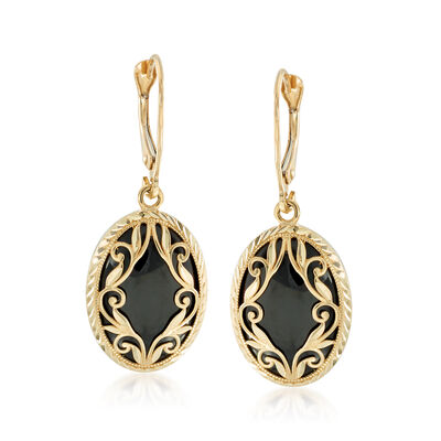 Black Onyx Drop Earrings in 14kt Yellow Gold , , default