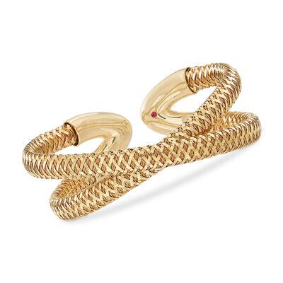 """Roberto Coin """"Primavera"""" 18kt Yellow Gold Crisscross Cuff Bracelet, , default"""