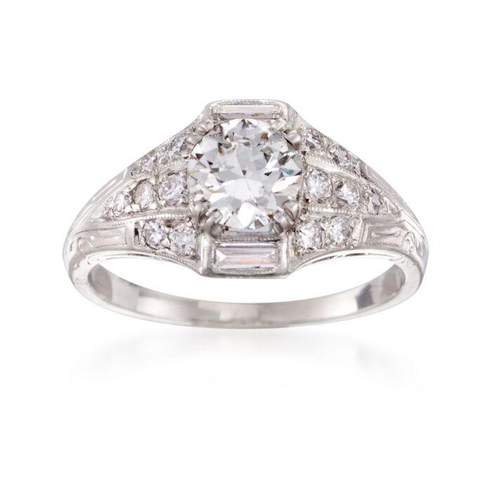 C. 2000 Vintage 1.43 ct. t.w. Certified Diamond Ring in Platinum. Size 8, , default