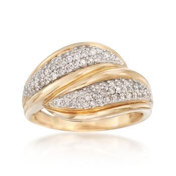 .52 ct. t.w. Diamond Wave Ring in 14kt Yellow Gold, , default
