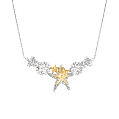 .20 ct. t.w. Diamond Sea Life Necklace in Sterling Silver with 18kt Gold Over Sterling, , default