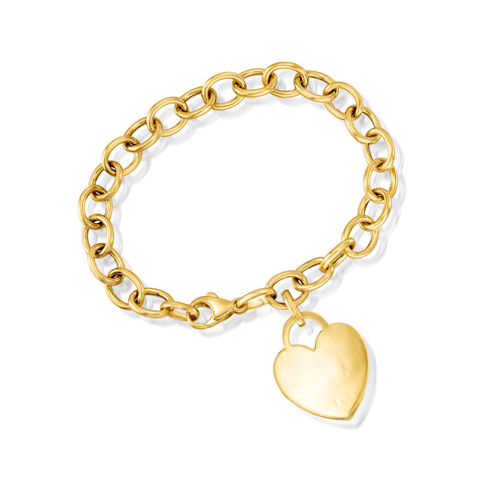"""C. 1990 Vintage 14kt Yellow Gold Link Bracelet with Heart Charm. 7"""""""