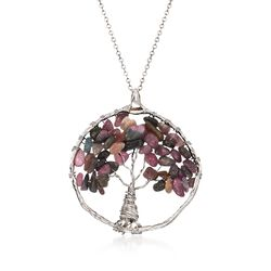14.00 ct. t.w. Multicolored Tourmaline Tree of Life Pendant Necklace in Sterling Silver, , default