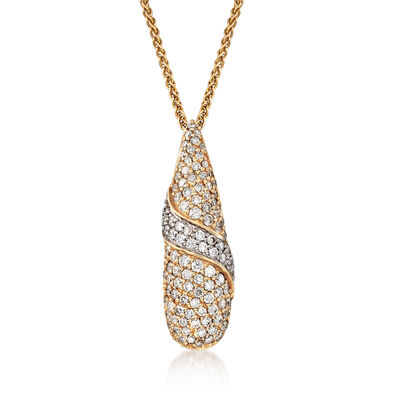 C. 1980 Vintage 1.50 ct. t.w. Pave Diamond Teardrop Pendant Necklace in 14kt Yellow Gold, , default